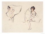 Two Ballerinas, Holding Their Ankles Wearing Ballet Skirts Giclee-trykk av Isobel Lilian Gloag