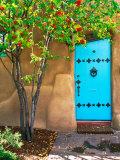 Turquoise Door, Santa Fe, New Mexico Photographic Print by Tom Haseltine