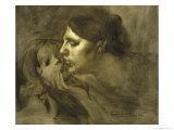 The Baiser Maternelmotherly Kiss Reproduction procédé giclée par Eugene Carriere