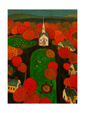 New England Village Giclee Print by John Newcomb