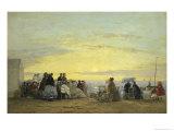 On the Beach at Sunset Reproduction procédé giclée par Eugène Boudin