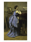 La Dame En Bleu Reproduction procédé giclée par Jean-Baptiste-Camille Corot