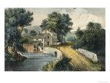 The Roadside Mill Giclee-trykk av Currier & Ives,