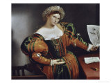 Lady with a Drawing of Lucretia Giclee Print by Lorenzo Lotto