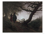 Man and Woman Contemplating the Moon Gicléedruk van Caspar David Friedrich