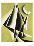 Construction with White Half Moon Giclee-trykk av Liubov Sergeevna Popova