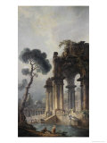 Ruins Near Water, c.1779 Reproduction procédé giclée par Hubert Robert