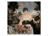 Merchant's Wife Having Tea Giclee Print by B. M. Kustodiev
