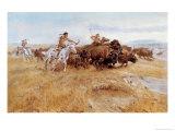 Buffalo Hunt Giclee Print by Celia Russell