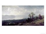 View of the Hudson Looking Across the Tappanzee Giclée-tryk af Albert Bierstadt