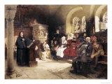 Martin Luther Preaches in Wartburg Giclée-Druck von Hugo Vogel