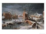 Winter Scene with Ice Skaters and Birds Giclée-vedos tekijänä Pieter Brueghel the Younger
