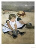 Children on the Beach Reproduction procédé giclée par Mary Cassatt
