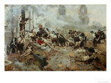 The Attack Upon the Chew House Gicléedruk van Howard Pyle