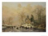 Figures on a Frozen Waterway, no.1 Giclee Print by Frederik Marianus Kruseman