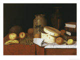 Eleame Figs and Newspaper Giclée-tryk af William Michael Harnett