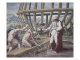 Noah Building the Ark Reproduction procédé giclée par  Raphael