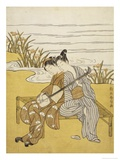 Two Lovers Playing a Shamisen Giclee Print by Suzuki Harunobu