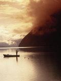 Fisherman at Sunrise, Lake Grundlsee Photographic Print by Elfi Kluck