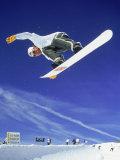Airborne Snow Boarder Fotografisk tryk af Kurt Olesek
