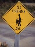 Old Fisherman Crossing Sign, Westerly Beach, RI Fotografisk trykk