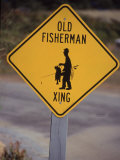 Old Fisherman Crossing Sign, Westerly Beach, RI Fotografie-Druck