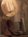 Cowboy Hat and Boots, Barbed Wire and Hammer Photographic Print by Gary Conner