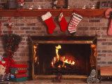 Fireplace with Christmas Stockings Fotografie-Druck von Christine Lowe