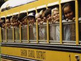 School Children Looking Out School Bus Windows Photographic Print by Len Rubenstein