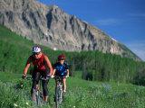 Two Women Mountain Biking, Snodgrass Mountain, CO Impressão fotográfica por Tom Stillo