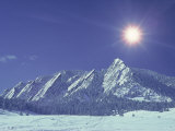 The Flatirons Near Boulder, CO, Winter Fotografie-Druck von Chris Rogers