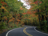Empty Road Surrounded by Fall Foliage, Upper Mi Fotografisk tryk af Charles Benes