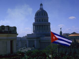 Flag and Capitol Building, Havana, Cuba Photographic Print by Tim Lynch