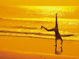 Girl Doing Cartwheels on Beach at Sunset Fotografisk trykk av Jennifer Broadus