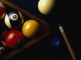 Rack of Pool Balls with Chalk and Cue Fotografisk trykk av Ernie Friedlander