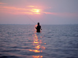 Man Fishing in Middle of the Water Photographic Print by David White