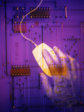 Hand on Computer Mouse with Computer Circuit Board Photographic Print by Gary Conner