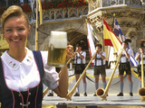 German Woman Holding Stein of Beer, Oktoberfest Photographic Print by Bill Bachmann