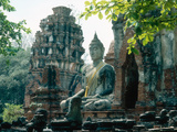 Buddhist Sculpture, Thailand Fotografisk tryk af Mary Plage