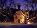 Christmas Chapel Model, Bavaria, Germany Impressão fotográfica por David Ball