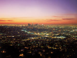 Sunrise Over Los Angeles Cityscape, CA Fotografie-Druck von Jim Corwin