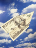 Paper Plane Made from Hundred Dollar Bill Reproduction photographique par Terry Why