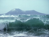 Waves with Anak Krakatoa Volcano Behind, Sunda Straits, Indonesia Fotografisk tryk af Mary Plage