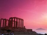 Greece, Sounion, Temple of Poseidon Impressão fotográfica por David Ball