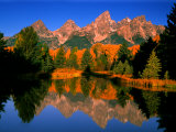 Teton Range in Autumn, Grand Teton National Park, WY Fotografisk tryk af Russell Burden