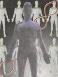 Cloning Dna, Male Figure with Dna Strand Fotografisk trykk av Ellen Kamp