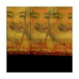 3 Happy Buddhas Premium gicléedruk van Ricki Mountain