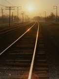 Morning Sun Shines on Railroad Tracks Photographic Print by Stephen St. John