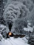 A Train Chugs Through the Snow Blanketing the San Juan Mountains Impressão fotográfica por Paul Chesley