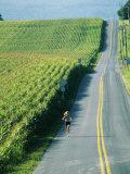 A Woman Jogs Down a Country Road Alongside a Field of Corn Fotografisk tryk af Skip Brown